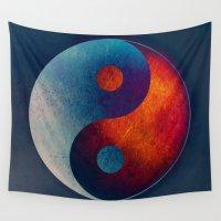 ying yang Wall Tapestries featuring Yin Yang Symbol by Klara Acel