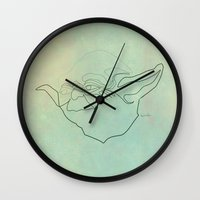 quibe Wall Clocks featuring One Line Yoda by quibe
