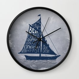 Great Gatsby Hand-Lettered Boat Art Wall Clock