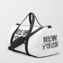 New York  B&W typography Duffle Bag