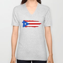 Puerto Rico Map with Puerto Rican Flag Unisex V-Neck