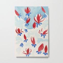 Magnolias in red Metal Print