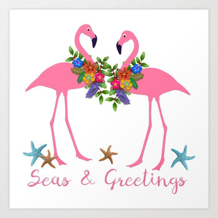 seas and greetings flamingo christmas art print - Flamingo Christmas