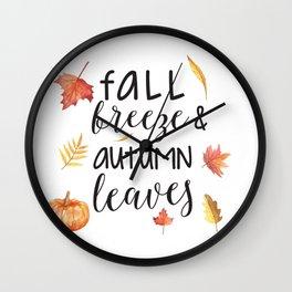 Fall breeze, autumn leaves Wall Clock