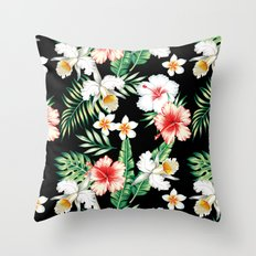 hibiscus orchid pattern Throw Pillow