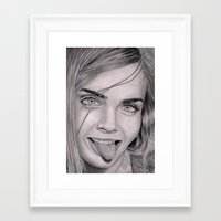cara delevingne Framed Art Prints featuring Cara Delevingne by Eliya Haliwa