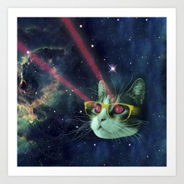 Laser cat with glasses in space Art Print