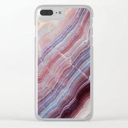 Purple & Pink Striped Agate Geode Quartz Slab Clear iPhone Case