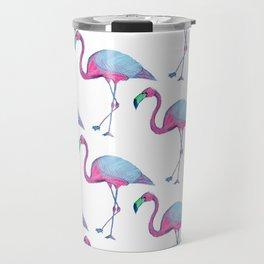 Pink Flamingos with blue wings Travel Mug