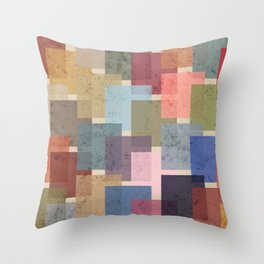 Vintage Colorful Squares Throw Pillow