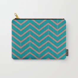 Viridian and Rose Zigzags Carry-All Pouch