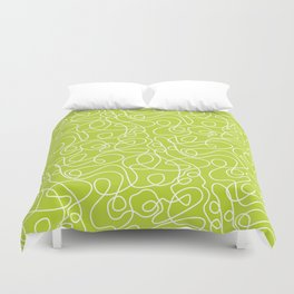 Doodle Line Art | White Lines on Bright Lime Green Duvet Cover