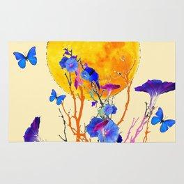 BLUE BUTTERFLIES MORNING GLORY  FULL MOON ART Rug