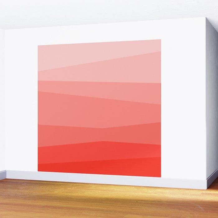 Diagonal Living Coral Gradient Wall Mural