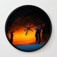 central park Wall Clocks featuring Central Park by Nick Duarte