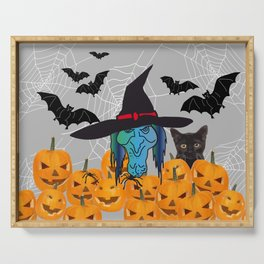 Witch bats pumpkin Halloween Serving Tray