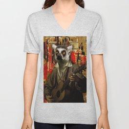Lemur Busker in Paris Unisex V-Neck