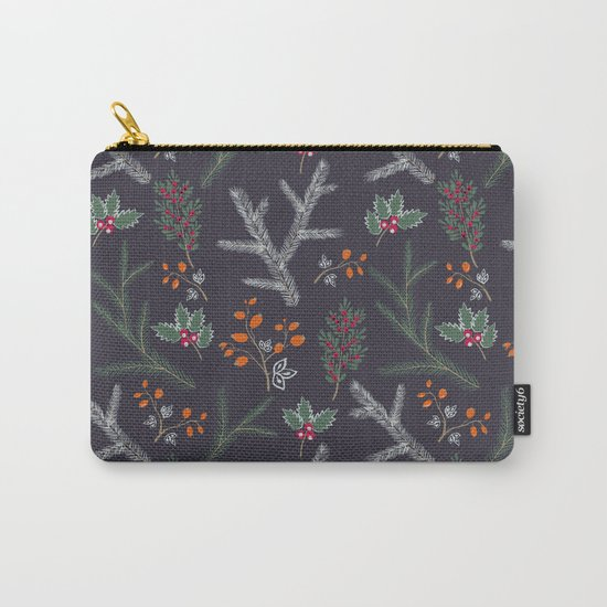 Seamless pattern with floral branches winter christmas hand drawn texture background Carry-All Pouch