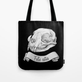 Cat skull in ink Tote Bag