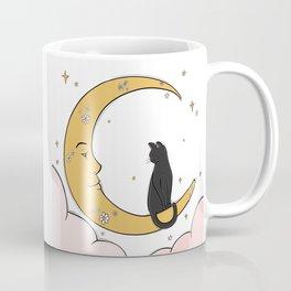 Black Cat on the Moon Coffee Mug