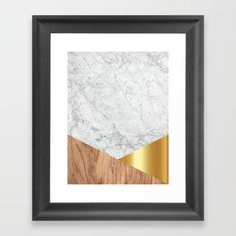 White Marble Wood & Gold #884 Framed Art Print