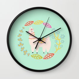Lola Llama Mint Wall Clock