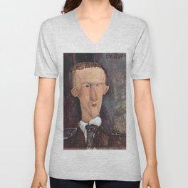 Amedeo Modigliani - Portrait of Blaise Cendrars.jpg Unisex V-Neck