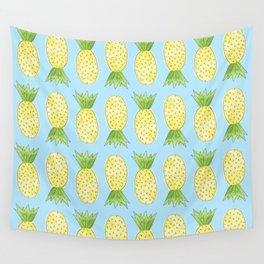 Pineapple Pattern Light Blue Wall Tapestry
