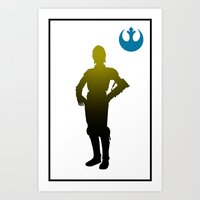 c3po Art Prints featuring c3po by inkleach