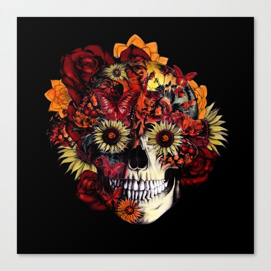 Full circle...Floral ohm skull Canvas Print