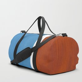 Antique Pastel Blue Brown Mid Century Modern Abstract Minimalist Rothko Color Field Squares Duffle Bag