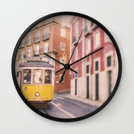 Lisbon Yellow Trolley Wall Clock