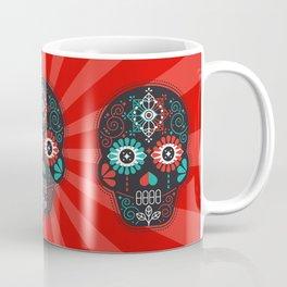Día de Muertos Calavera • Mexican Sugar Skull – Black & Turquoise on Red Starburst Coffee Mug