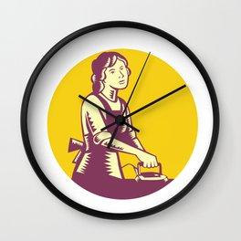 Housewife Ironing Circle Woodcut Wall Clock