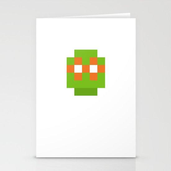 hero pixel green orange Stationery Cards