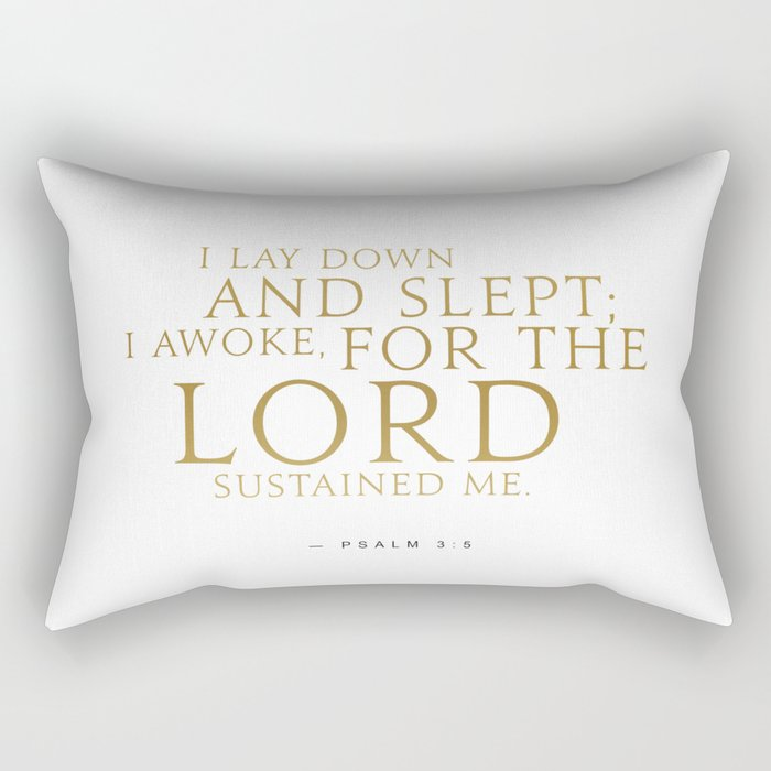 Psalm 3:5 Bible Verse - White Gold Rectangular Pillow by cooledition