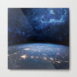 Earth and Galaxy Metal Print