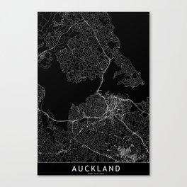 Auckland Black Map Canvas Print