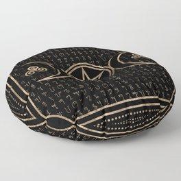 Triple Goddess Symbol - Theban Alpabet pattern Floor Pillow