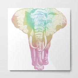 Tangling & Doodling Elephant Metal Print