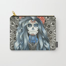 Full Page Day of the Dead Woman Mandala Carry-All Pouch