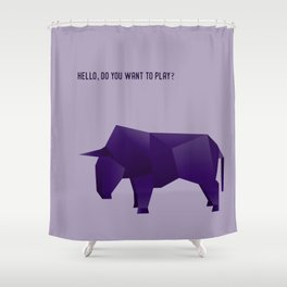 Do You Want to Play? - Origami Purple Bull Shower Curtain