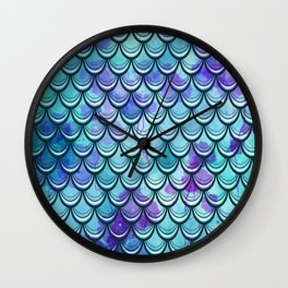 Mermaid Scales Watercolor Wall Clock