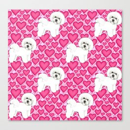 Bichon Frise Valentines Day Hearts in pink and red // Ideal valentines gift for Bichon Mom Canvas Print