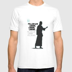FOLLOW THE LEADER MEDIUM White Mens Fitted Tee