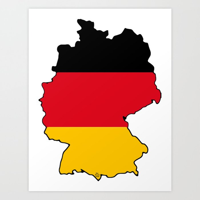 Map Of Germany To Print.Germany Map With German Flag Art Print By Havocgirl