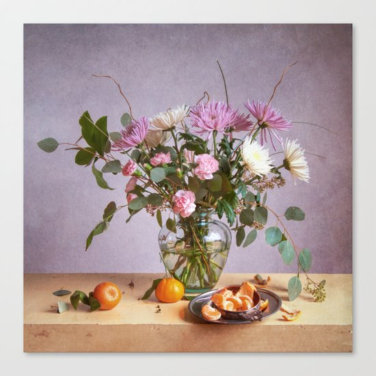 Still Life with Mums and Oranges Canvas Print