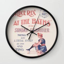 Vintage Swim Book Title Wall Clock