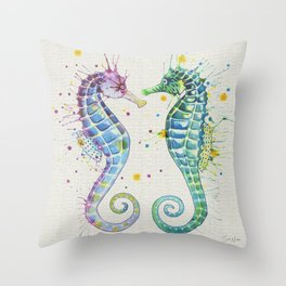 Guardians of the Sea - Natural Throw Pillow