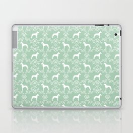 Great Dane floral silhouette dog breed pattern minimal simple mint and white great danes silhouettes Laptop & iPad Skin